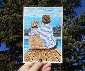 etsy, golden retriever, and sky painting image