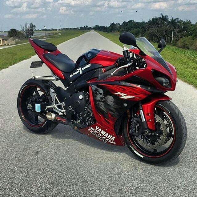 motorcycle, red, and YAMAHA image