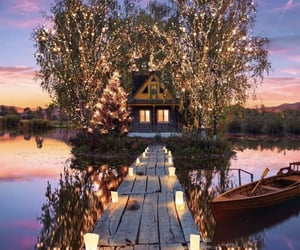 lights, nature, and house image