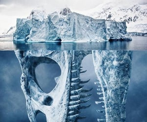 dinosaur, ice, and iceberg image