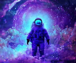 art, astronaut, and clouds image