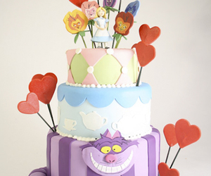 cake, alice in wonderland, and food image