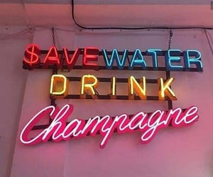 neon, champagne, and quotes image