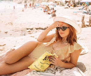 beach, stripes, and chips image