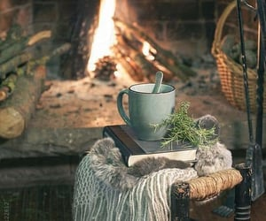 book, fire, and coffee image