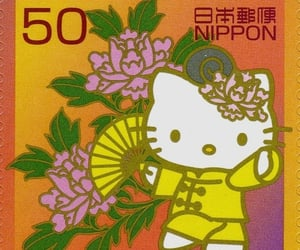 hello kitty, japan, and stamp image