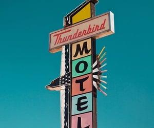 motel, sky, and vintage image