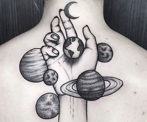 tattoo, moon, and planet image
