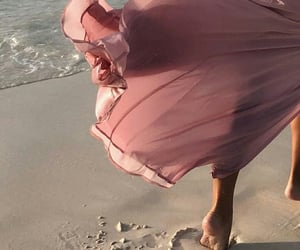 beach, pink, and dress image