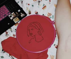 embroidery, vintage, and face image