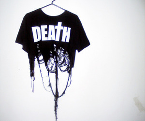 death, black and white, and shirt image