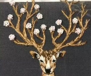 deer, embroidery, and flowers image