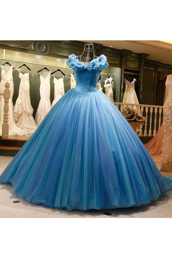 Cinderella Dresses Royal Blue Ball Gown Prom Dresses Simple V Neck Elegant Cheap Prom Ball Gown Vestido De Longo