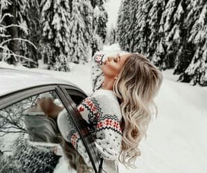 snow, winter, and blonde image