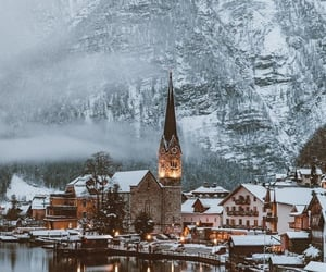 mountains, snow, and town image