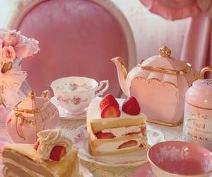 pink, cake, and tea image