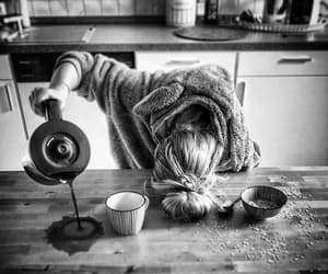 coffee, morning, and black and white image