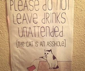do not leave, cat don't care, and unattended drinks image