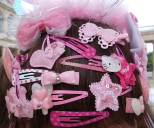 pink, bow, and hair image