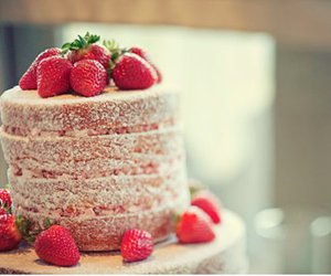 cakes, food, and strawberry image