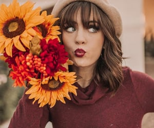 autumn, flowers, and lips image