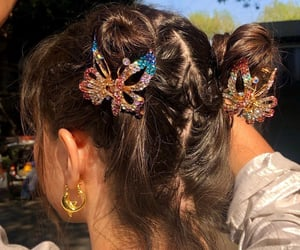 hair, butterfly, and style image