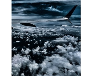 clouds, flight, and ocean image
