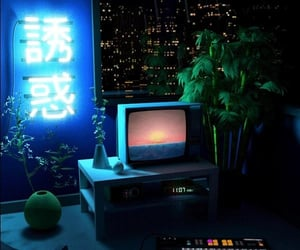 blue, aesthetic, and tv image