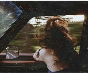 girl, car, and nature image