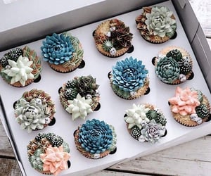 art, cupcake, and flowers image