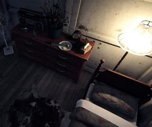 bedroom, bunker, and dim image