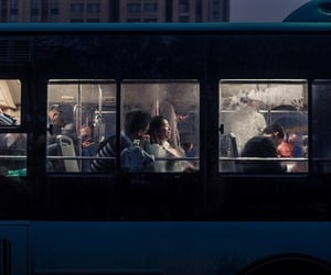 bus, night, and people image