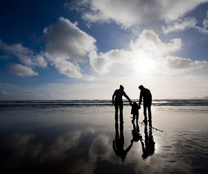 family, beach, and sea image