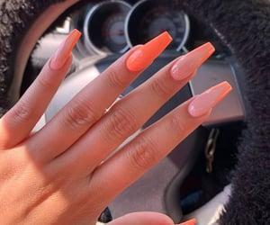 nails, manicure, and orange image