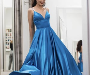 blue dress, simple dress, and long prom dress image