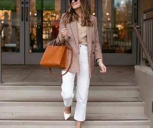 fashion, outfit, and white pants image