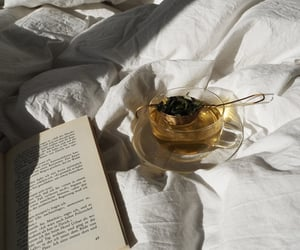 books, good morning, and a cup of tea image