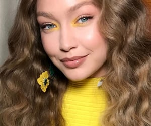 gigi hadid, makeup, and yellow image