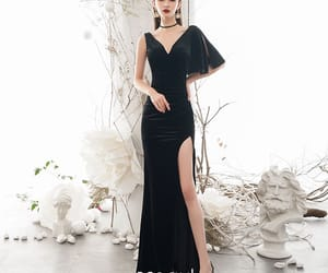 black dress, sexy dress, and girl image