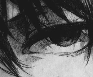 anime, black and white, and eye image