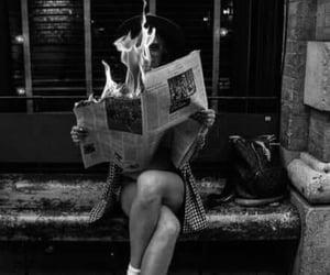 balck and white, girl, and burning image