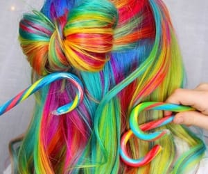 rainbow, hair, and hairstyle image