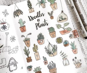 doodle, plants, and art image