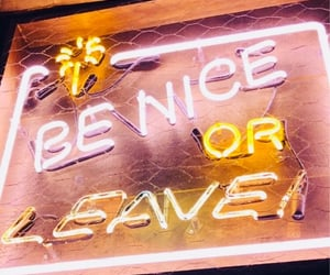 be nice, neon, and sign image