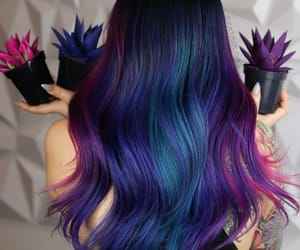 color hair, purple hair, and purple-blue hair color image