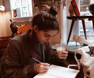 girl, coffee, and study image