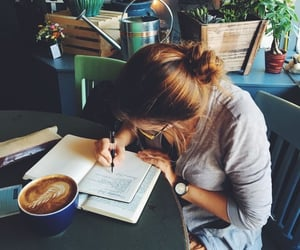 study, girl, and coffee image
