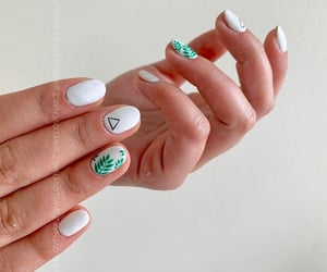 beauty, leafs, and manicure image