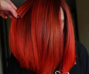 straight hair, orange hair color, and red hair color image