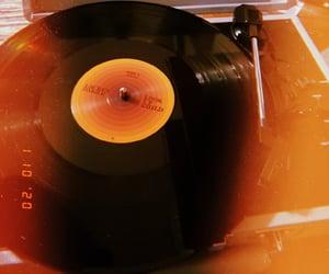 music, orange, and record image